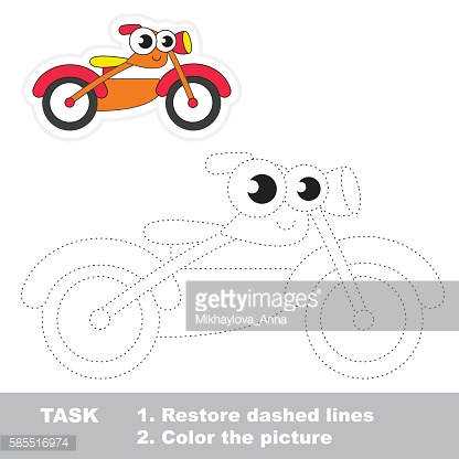 Bike to be traced. Vector trace game.