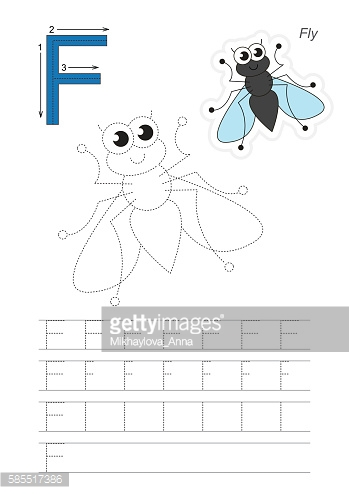 Trace game for letter F. Fly.