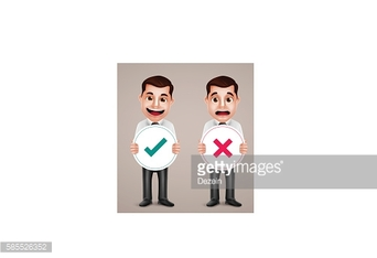 Business man vector character holding right and wrong sign