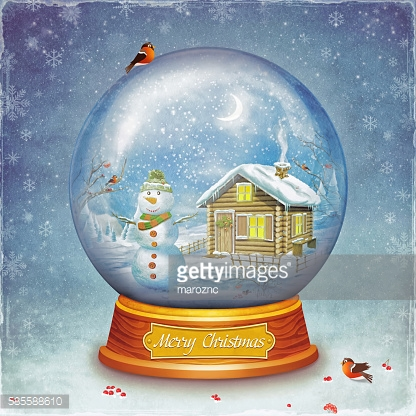 Merry christmas glass ball with snowman on grunge background