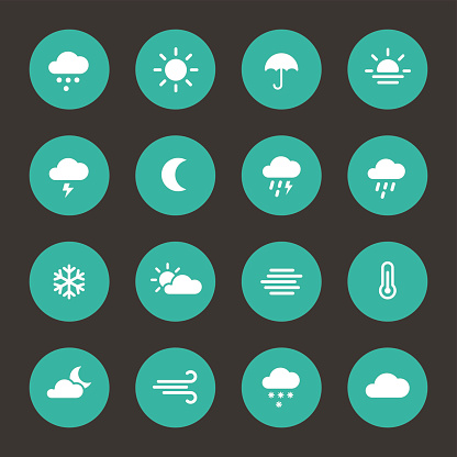 Set of weather forcast flat icons on circle.