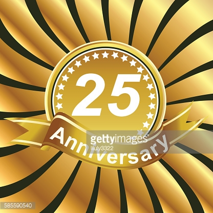 25th anniversary ribbon logo with golden rays of light.