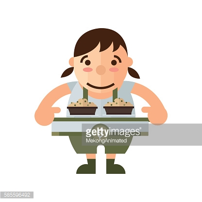 woman and box lunch icon, brown Color