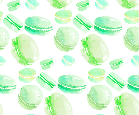 french sweets handdrawn concept. pastel color macaron sweet cake