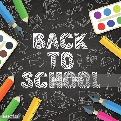 Back to school vector sketch lettering and school supplies icons.