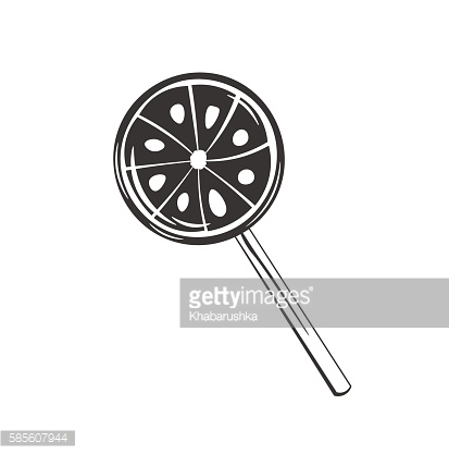 Lollipop silhouette. Sweet candy. Vector illustration isolated on a white