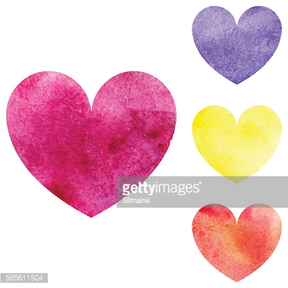 Watercolor pink yellow orange violet heart set isolated vector