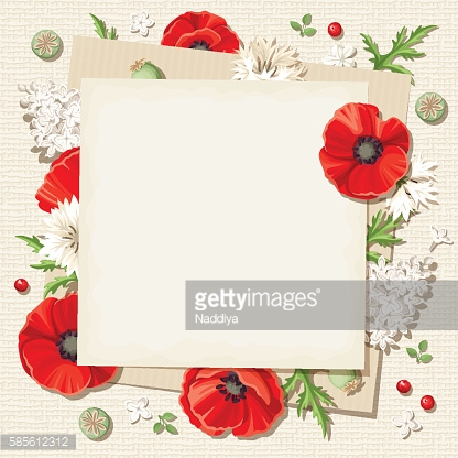 Vector rustic card with red poppy flowers on sacking background.