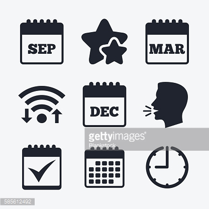 Calendar icons. September, March, December.