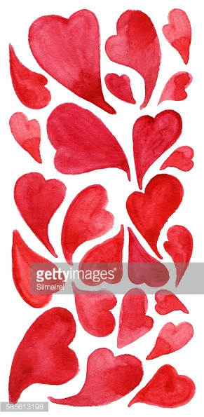 Watercolor red heart love symbol icon isolated set