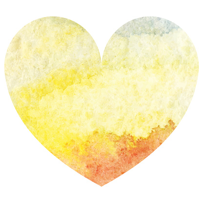 Watercolor yellow sand sea sky heart love symbol isolated vector