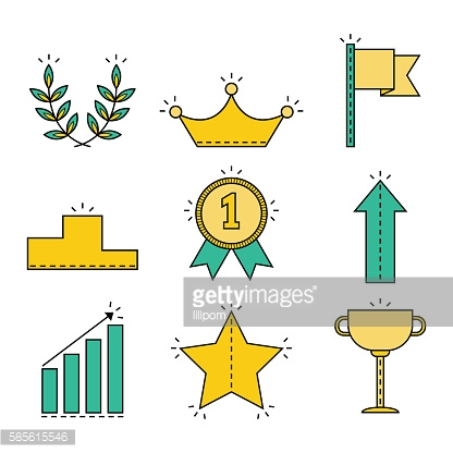 Victory and success. Set of colored flat icons isolated. Vector