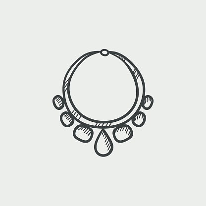Necklace with gems  sketch icon.