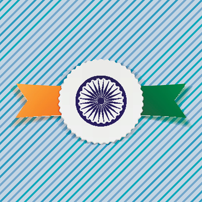 India Flag on realistic Badge