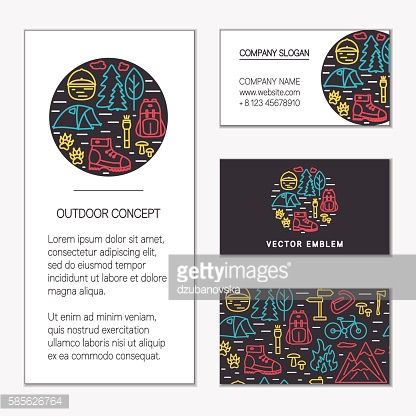 Outdoor business card templates set. Hiking concept of line icons.