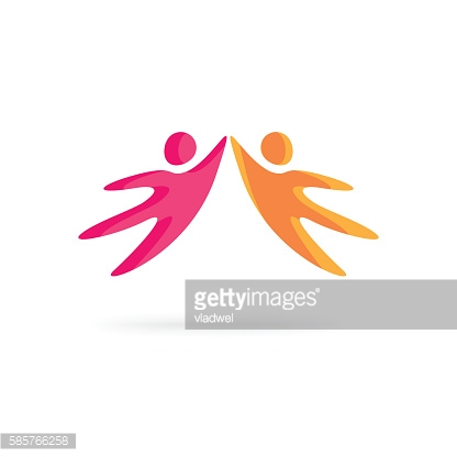 Creative people logo vector, abstract happy motivated friends together, community