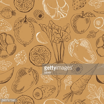 Fruits + vegetables seamless in retro style on cardboard background