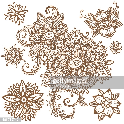 Floral mehndi ornamental elements