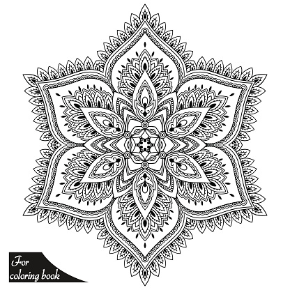 Henna tattoo mandala in mehndi style. Pattern for coloring book.