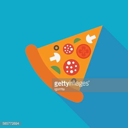 pizza icon with long shadow. flat style vector illustration