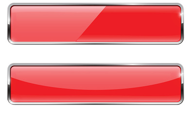 Red buttons with chrome frame. Glossy rectangular buttons