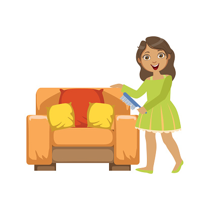 Girl Cleaning Dust Off Armchair WIth Brush
