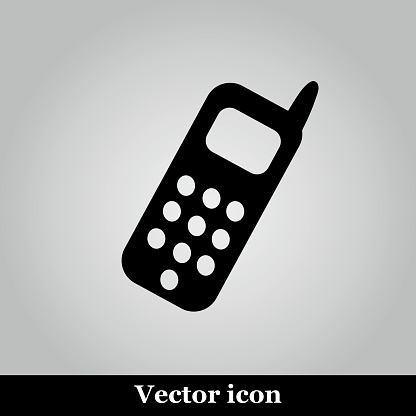 Smartphone icon on grey background, vector illustration