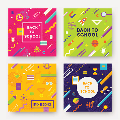Colorful abstract backgrounds with school object and supplies