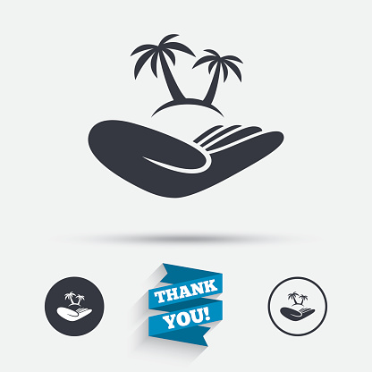Trip insurance sign. Hand holds palm tree.