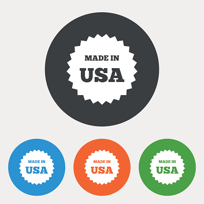 Made in the USA icon. Export production symbol.