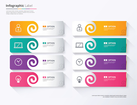 Label infographic design, Twirl tag label template. vector stock