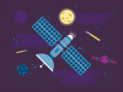 illustration of satellite flies in outer space in a flat