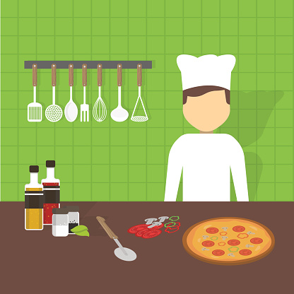 Workplace cook, vector illustration