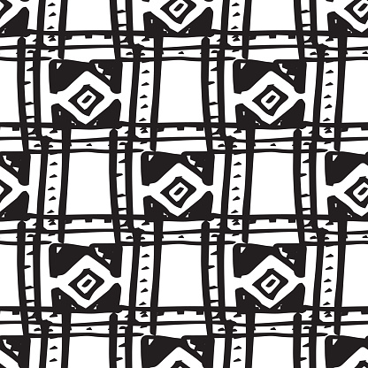 Rhombus and squares simple seamless pattern hand drawn, vector.