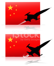 china flag and jet planes