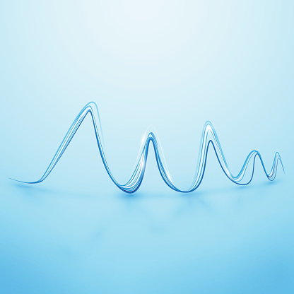 Abstract Lines waves in Soft Bright Blue Background