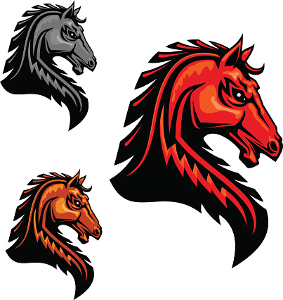 Fiery horse head icon for equestrian sport