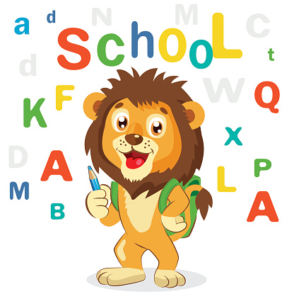 Funny Lion On A White Background. Back to School Theme.