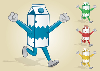 Running Milk Carton With Two Hands Up