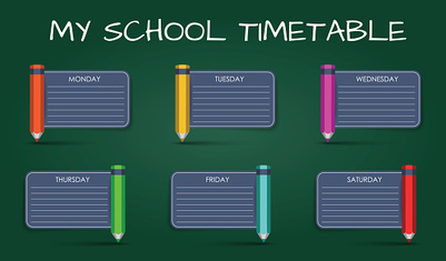 Template daily school timetable
