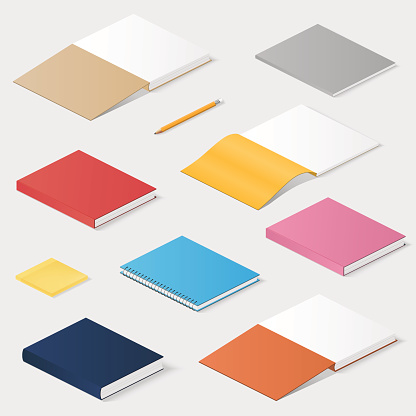 Books, knowledge, office illustration in isometric style