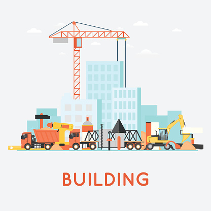 Building a house, repair work. Real estate. Construction machinery