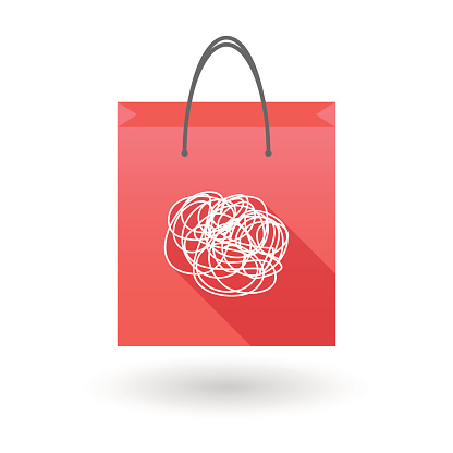 Red shopping bag icon with a doodle