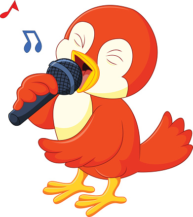Cute orange bird singing