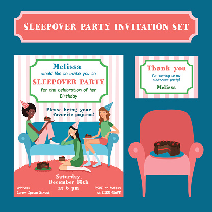 Set of Vector Teenage Girls Birthday Party Illustration and Thank