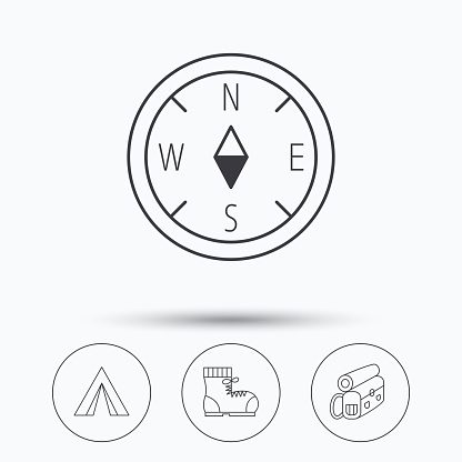 Compass, camping tent and hiking boots icons.