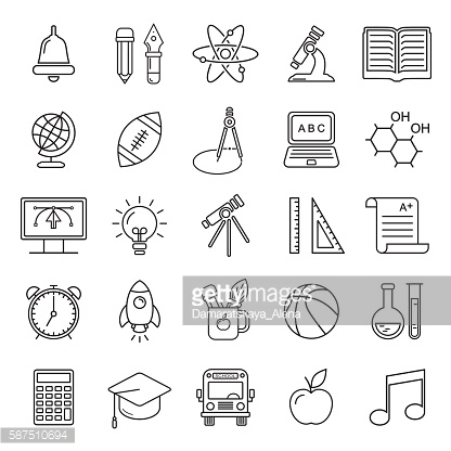 Vector line style school and educations icons set.
