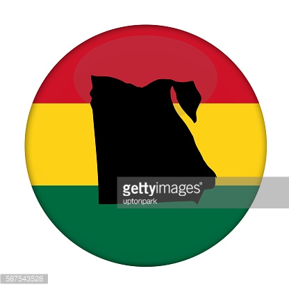 Egypt map on a Rastafarian flag button