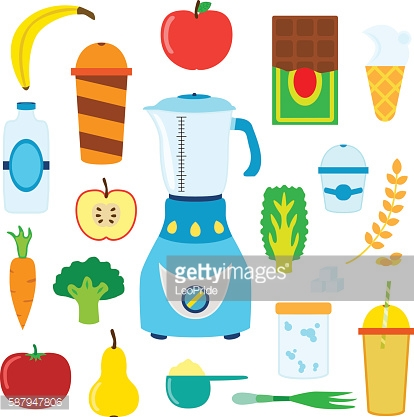 Set of cartoon food for smoothie with blender,