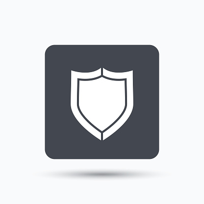 Shield protection icon. Defense equipment sign.